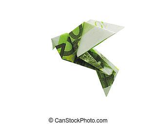 billetes de banco, origami, 100, aves, euro