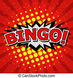 ¡bingo!, cómico, discurso, bubble.