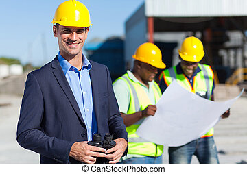 binoculares, construcción, supervisor