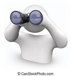 binoculares, mirar, -, ayuda