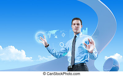 bio, estilo, collection., conceptos, joven, hombre de negocios, futuro, interior., interfaz, utilizar, holograma, futurista, guapo