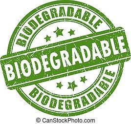 biodegradable, estampilla, caucho