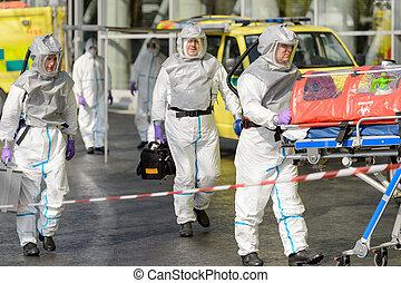 biohazard, ambulante, camilla, calle, equipo