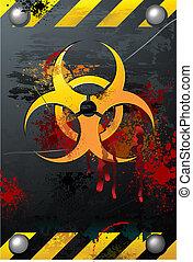biohazard, señal, grunge, sangre
