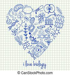 Biología dibuja en forma de corazón