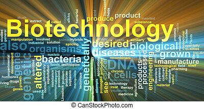 biotecnología, palabra, nube, encendido