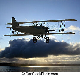 biplano, vendimia, vuelo
