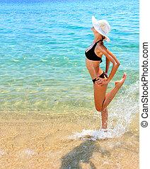 biquini, mujer, bronceado, mar