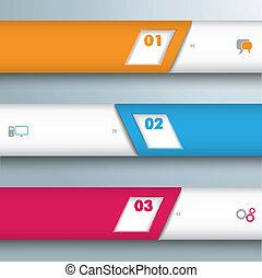 bisel, 3, líneas, infographic