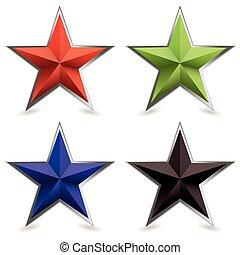 bisel, forma, metal, estrella