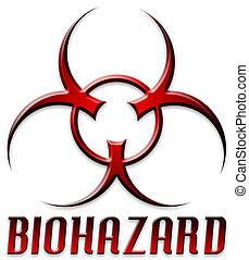biselado, logotipo, biohazard, rojo
