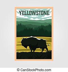 bisonte, vector, viaje, parque, yellowstone, cartel, diseño, nacional, ilustración, vendimia