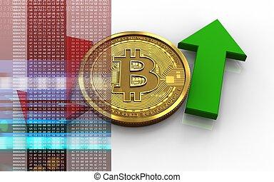 Bitcoin 3D arriba y abajo flechas
