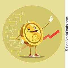 Bitcoin caracter aislado. Ilustración plana de dibujos animados