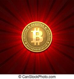 bitcoin, plano de fondo, rojo