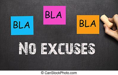 BLA BLA BLA - sin excusas - motivación de entrenamiento, en una pizarra