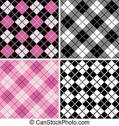 black-pink, argyle-plaid, patrón