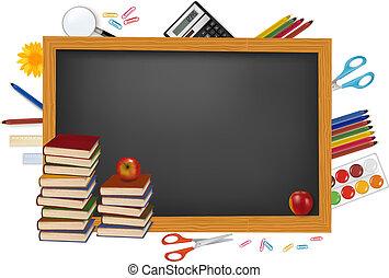 Blackboard con suministros escolares.