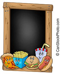 Blackboard con varias comidas de dibujos animados