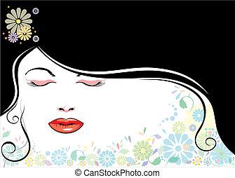 blackhair, cara, flor