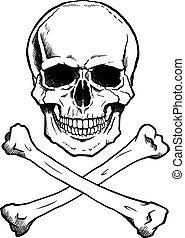 black/white, cráneo humano, crossbones
