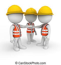 blanco, 3d, trabajador, camino, gente