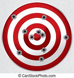 blanco, agujeros de bala, arma de fuego, gama, disparando