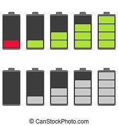 blanco, aislado, fondo., ilustración, vector, batería, icono