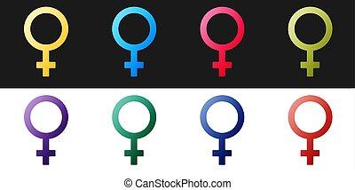 blanco, aislado, género, conjunto, icono, venus, organismo, vector, símbolo, o, hembra negra, símbolo., woman., fondo.