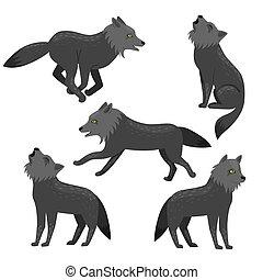 blanco, aislado, lobos, conjunto, vector, graphics., fondo.