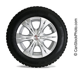 blanco, aislado, neumático