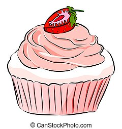 blanco, aislado, vector, caricatura, fondo., fresa, plano, ilustración, lindo, cupcake, style.