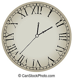 blanco, antiguo, contra, reloj