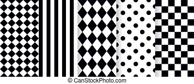 blanco, arlequín, seamless, vector, pattern., illustration., negro, rhombuses., plano de fondo