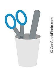 blanco, artículos, uso, plano, médico, isolated., tijeras, suministros, plástico, espátula, taza, doctor