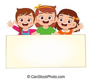 blanco, bandera, niñas, feliz, lindo, niño
