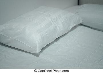 blanco, bed., cómodo, almohadas, suave