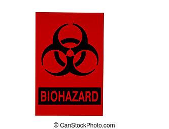 blanco, biohazard, aislado, señal