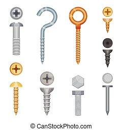 blanco, bolts., tornillos, conjunto, ilustración, vector, fondo.
