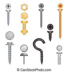 blanco, bolts., tornillos, conjunto, metal, ilustración, vector, fondo.