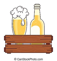 blanco, botella, caja, de madera, vidrio, plano de fondo, cerveza