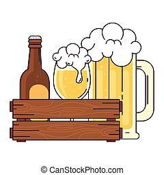 blanco, botella, taza, caja, de madera, jarra vidrio, plano de fondo, cerveza