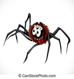 blanco, carácter, araña, aislado, plano de fondo, lindo, caricatura