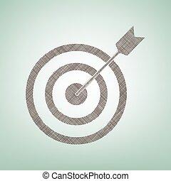 Blanco con dardo. Vector. Un icono de lino marrón sobre fondo verde con un punto de luz en el centro.