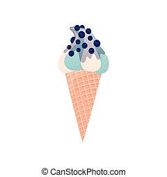 Blanco con helado azul en un cono de gofre. Ilustración de vectores sobre fondo blanco.