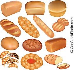 blanco, conjunto, bread, panes
