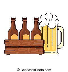 blanco, conjunto, caja, de madera, jarra vidrio, plano de fondo, cervezas, cerveza