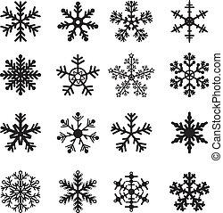 blanco, conjunto, negro, copos de nieve