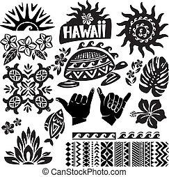 blanco, conjunto, negro, hawai