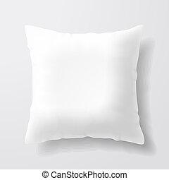 blanco, cuadrado, almohada, blanco